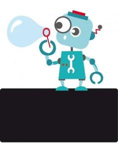 Sticker Ardoise,Enseigne de porte enfant: Robot