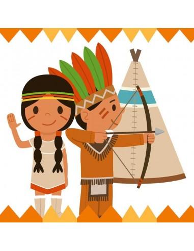 Tableaux Décoratifs,Tableau déco enfant: Tipi et indiens