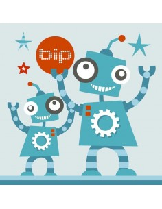 Tableaux Décoratifs,Tableau déco enfant: Robots Bip