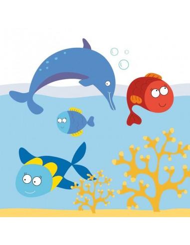 Tableaux Décoratifs,Tableau: Dauphin et poissons