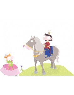 Stickers Fée & Princesse,Sticker Fille: Prince à cheval et sa