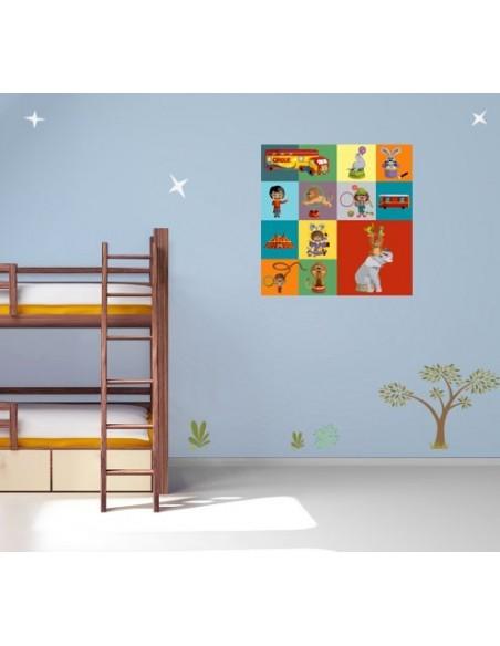 Tableaux Décoratifs,Tableau déco bébé: Cirque carré