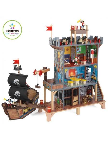 Jouet en bois,Ensemble maison et bateau pirates