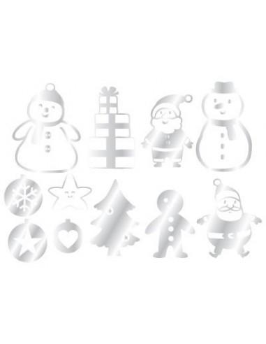 Stickers Noël,Planche Minis Stickers Noël Argent