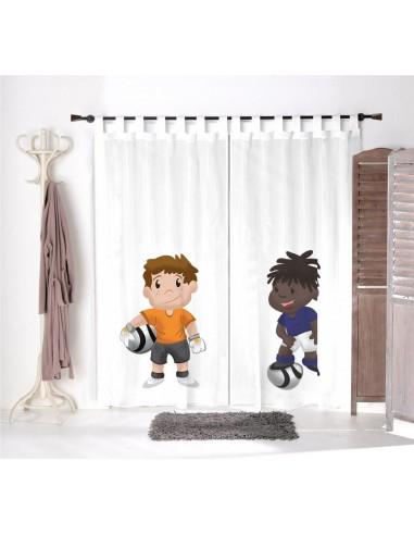 Voilage chambre garçon,Paire de Voilages: Hugo et Yanis