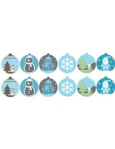 "Stickers Noël,Stickers: Frise Boules de Noël ""bleu"" (x12)"
