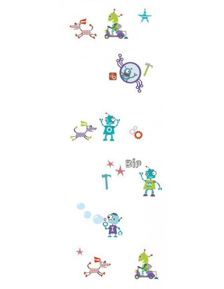 Voilage chambre garçon,Paire de Voilages: Robots