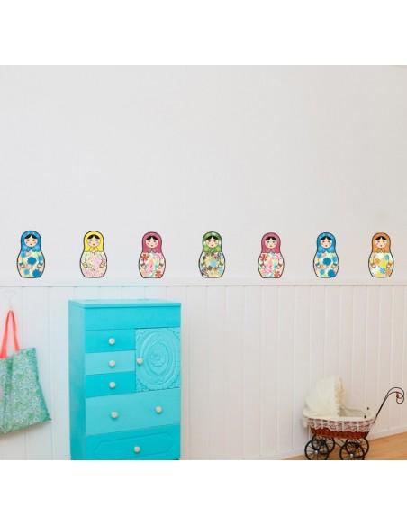 Stickers Poupées,Stickers Frise Poupées Russes 30 cm