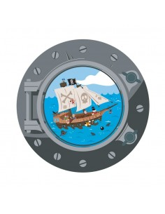 Stickers Pirates,Sticker Pirate: hublot Bateau Acier