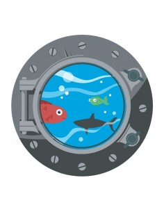 Stickers Pirates,Sticker Pirate: Hublot Poissons Acier