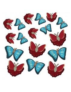 Stickers Frise,Stickers: Les 17 Papillons de la Ferme