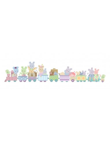 Stickers Nounours Doudous,sticker bébé: frise Train des doudous