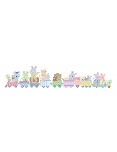 Stickers Nounours Doudous,sticker bébé: frise Train des doudous