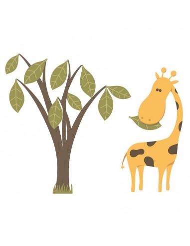 Stickers Jungle & Savane,Sticker enfant: Girafe et son arbre