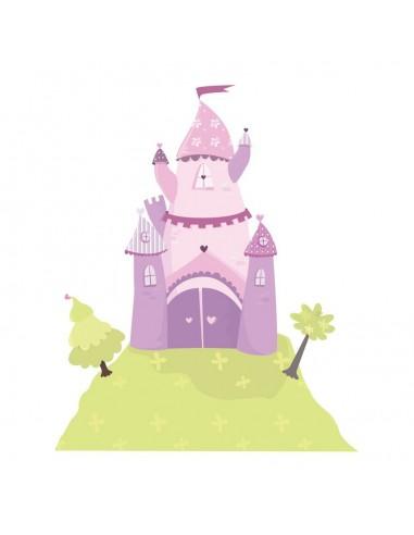 Stickers Fée & Princesse,Sticker chambre fille: Château rose de