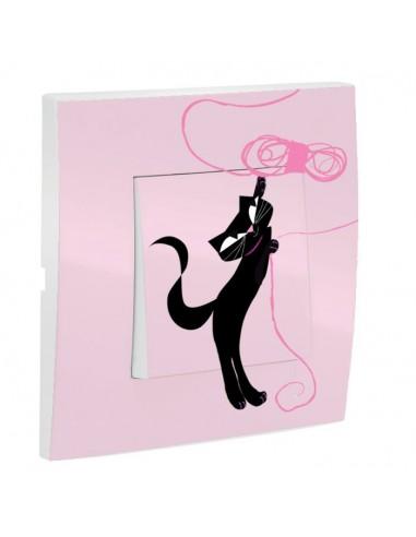 Interrupteur décoré,Interrupteur décoré: Chat debout rose