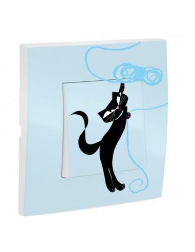 Interrupteur décoré,Interrupteur décoré: Chat debout bleu