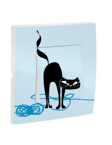 Interrupteur décoré,Interrupteur décoré: Chat droit bleu
