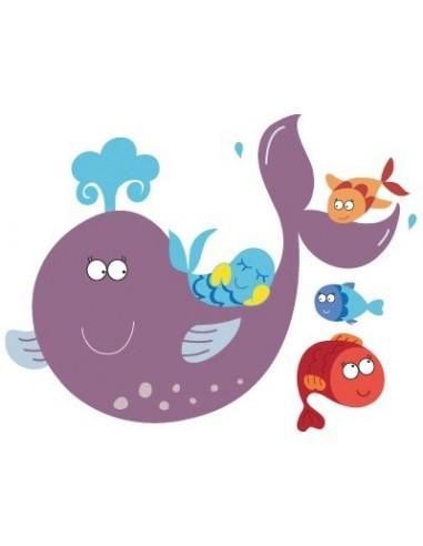 Stickers de la Mer,Stickers de la Mer: Baleine et poissons