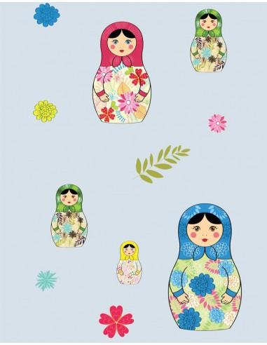 Papier peint enfant,Papier peint enfant: Poupées