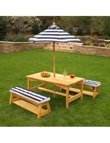 Mobilier extérieur,Ensemble table et bancs de jardin