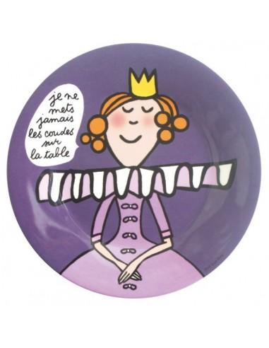 """Vaisselle,Assiette enfant: Princesse """"je ne mets jamais…"""""""