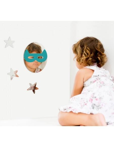 Miroir enfant,Miroir enfant: Masque loup turquoise