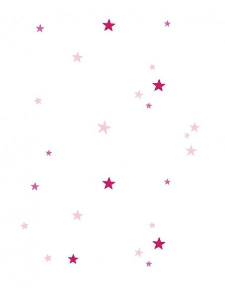 Voilage chambre fille,Paire de Voilages: Etoiles roses