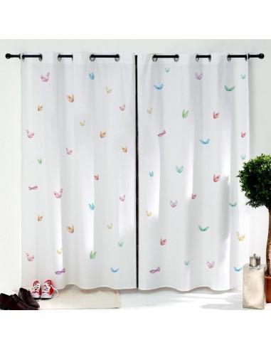 Rideaux chambre fille,Paire de Rideaux: Papillons colorés