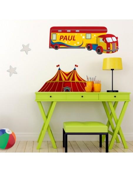 Stickers Prénom,Sticker Prénom: Camion cirque