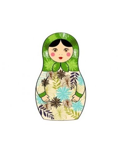 Stickers Poupées,Stickers Poupée Russe Fleur Vert