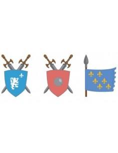 Stickers Chevalier,Sticker garçon: Boucliers et Drapeaux