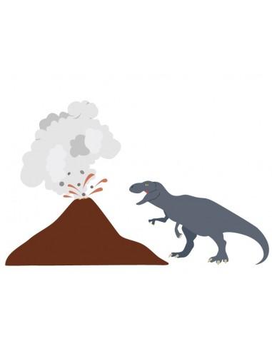 Stickers Dinosaures,Stickers enfant: Tyrex & volcan