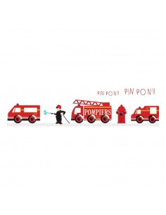 Stickers Pompier,sticker decoratif: frise pompiers