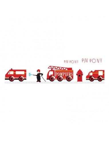 Stickers Pompier,sticker decoratif: frise pompiers