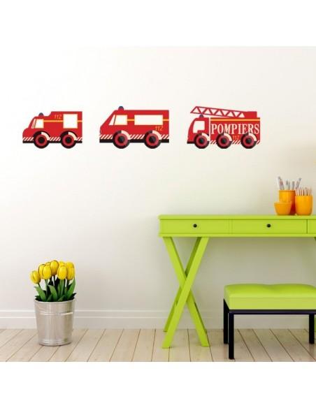 Stickers Pompier,sticker garçon: camion pompier V3