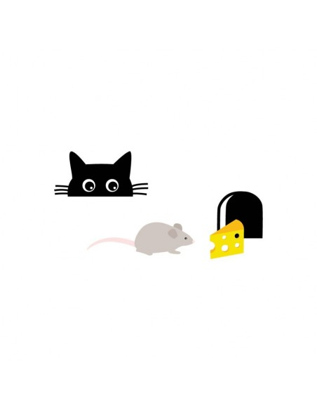 Stickers Prise,Sticker prise ou interrupteur: Chat & Souris