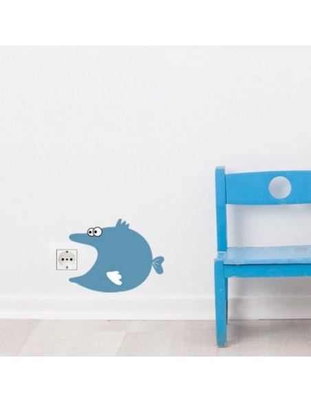 Stickers Prise,Sticker prise ou interrupteur: Poisson bleu