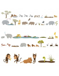 Kit Deco Promo,Kit de 53 Stickers: Grande Savane