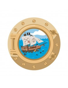 Stickers Pirates,Stickers Pirate: hublot Bateau Doré