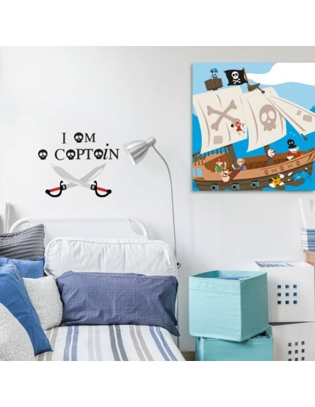 Tableaux Décoratifs,Tableau enfant: Bateau pirates