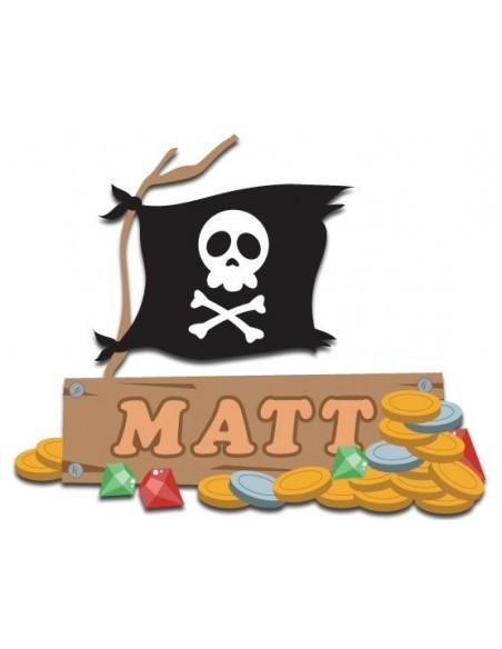 Stickers Prénom,Sticker Panneau à personnaliser: drapeau pirate