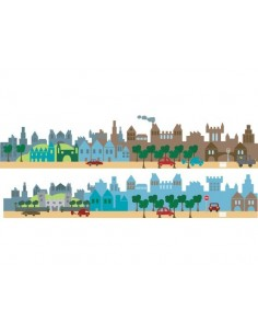 Stickers Frise,Sticker enfant: Grande Frise ville