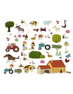 Stickers Ferme,Planche Géante: 46 stickers de la Ferme