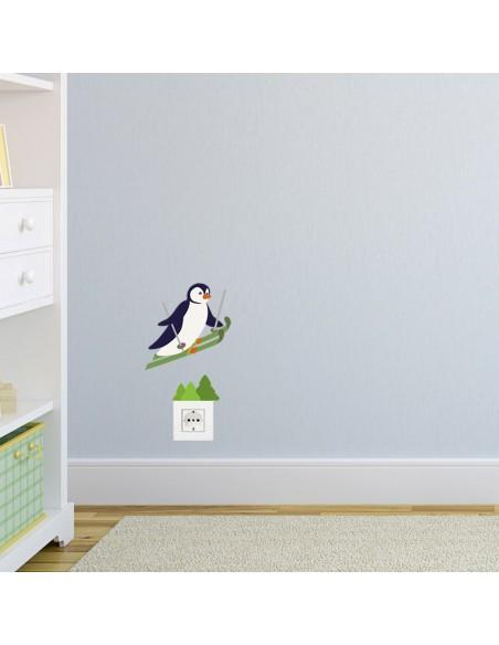 Stickers Prise,Sticker prise: Pingouin au ski