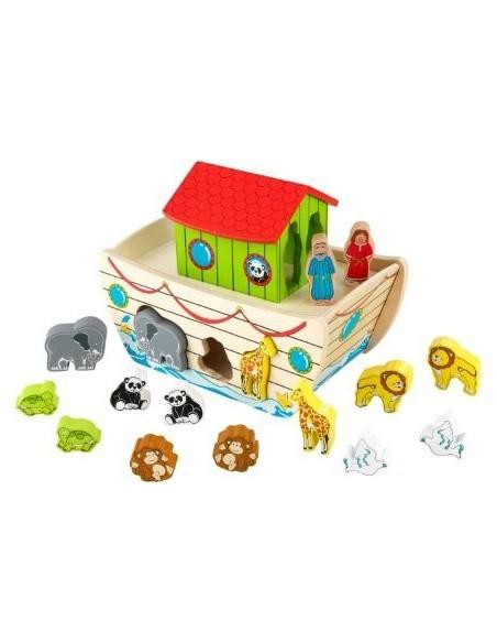 Jouet en bois,Jouet en bois: Arche de Noé avec formes à emboiter