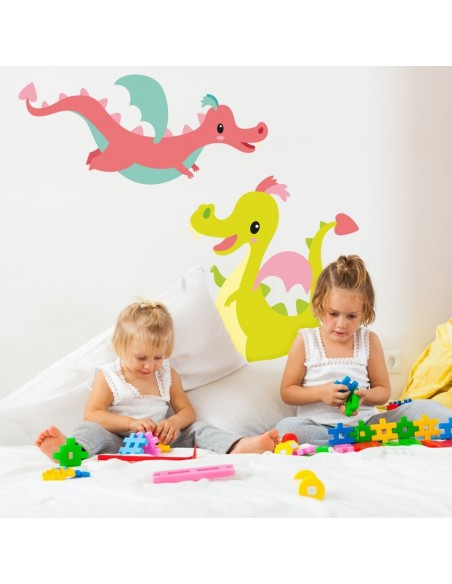 Stickers Fée & Princesse,Sticker Enfant: Dragon rose