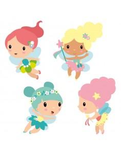 Stickers Fée & Princesse,Stickers frise: Les 4 petites fées