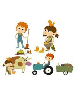 Stickers Ferme,Stickers de la Ferme: Les 4 fermiers