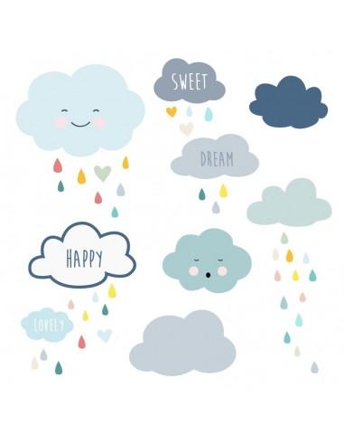 Stickers muraux : Frise nuages